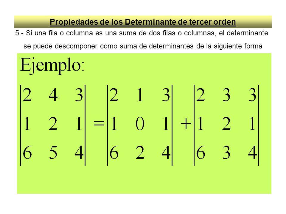 Propiedades de los Determinante de tercer orden 5.- Si una fila o columna es una suma de dos filas o columnas, el determinante se puede descomponer co