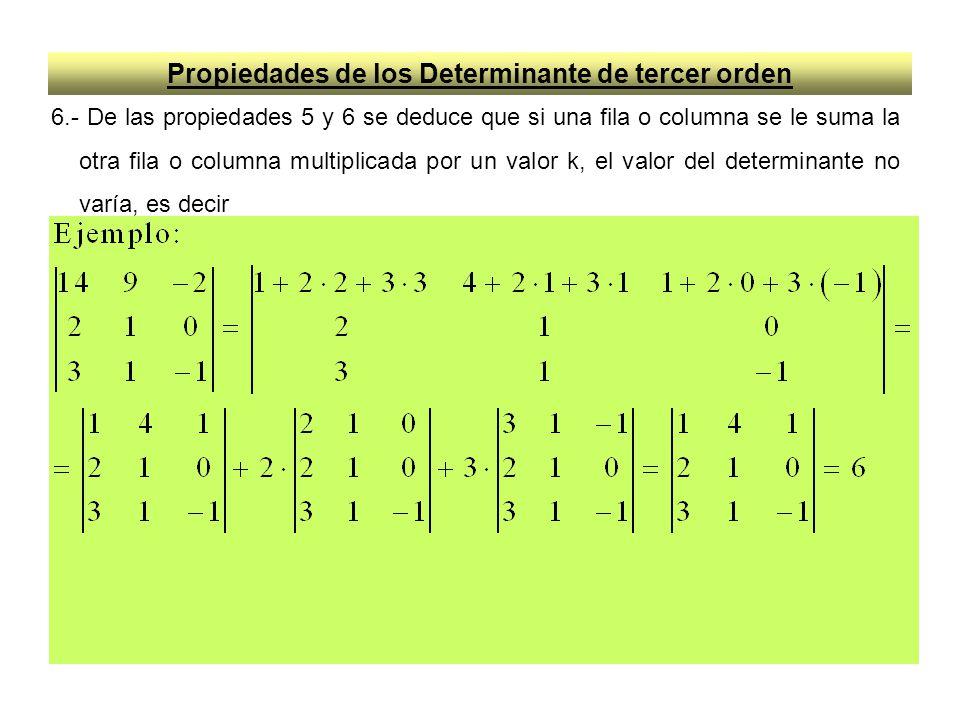 Propiedades de los Determinante de tercer orden 6.- De las propiedades 5 y 6 se deduce que si una fila o columna se le suma la otra fila o columna mul
