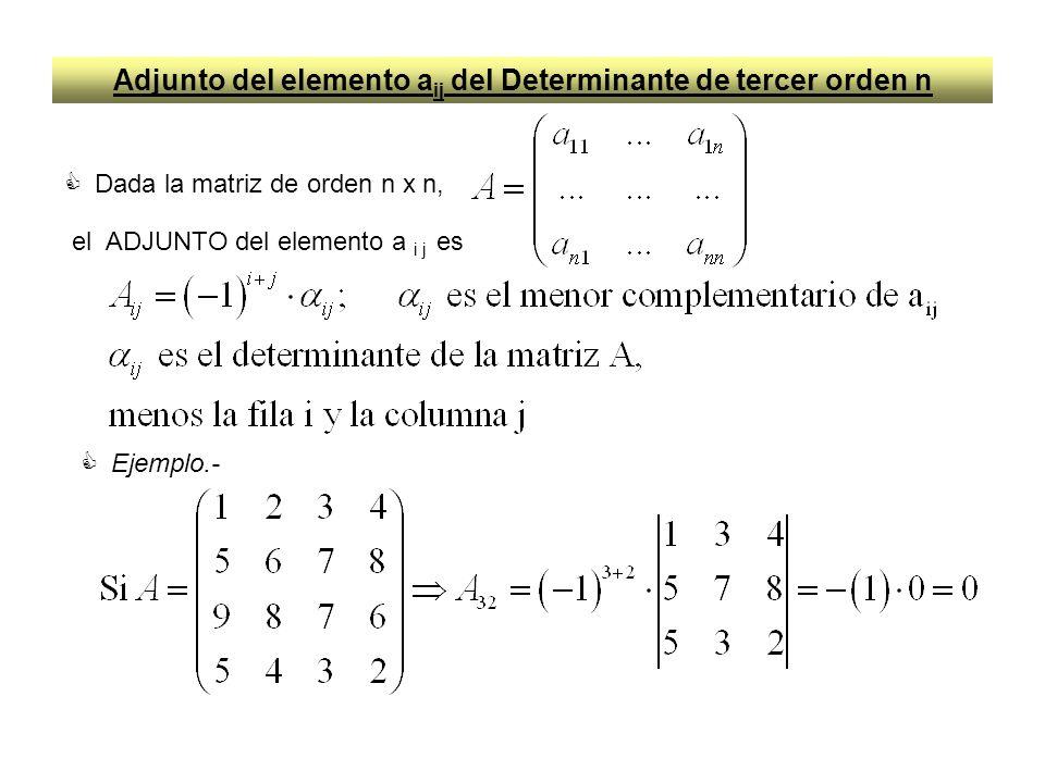 Adjunto del elemento a ij del Determinante de tercer orden n Dada la matriz de orden n x n, el ADJUNTO del elemento a i j es Ejemplo.-