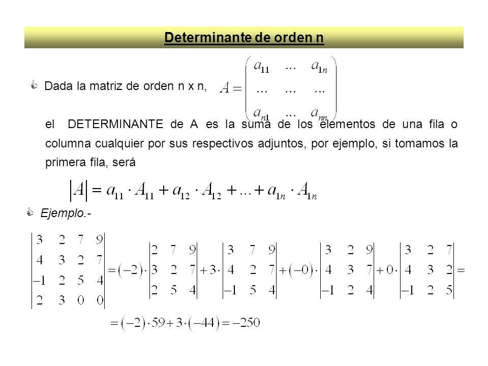 Determinante de orden n Dada la matriz de orden n x n, el DETERMINANTE de A es la suma de los elementos de una fila o columna cualquier por sus respectivos adjuntos, por ejemplo, si tomamos la primera fila, será Ejemplo.-