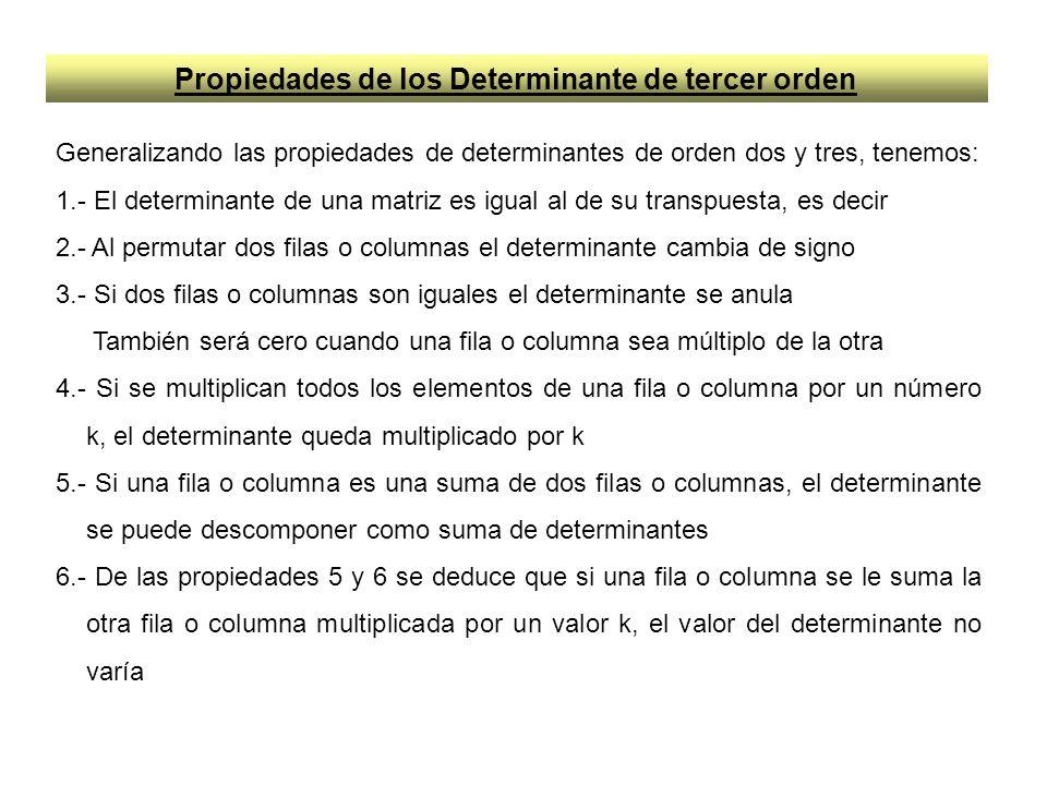 Propiedades de los Determinante de tercer orden Generalizando las propiedades de determinantes de orden dos y tres, tenemos: 1.- El determinante de un