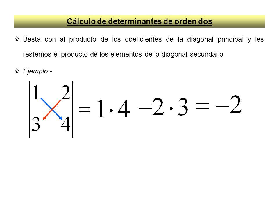 Cálculo de determinantes de orden dos Basta con al producto de los coeficientes de la diagonal principal y les restemos el producto de los elementos d