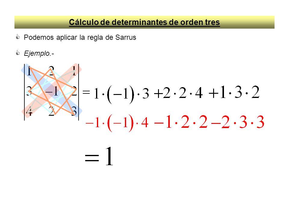 Cálculo de determinantes de orden tres Podemos aplicar la regla de Sarrus Ejemplo.-