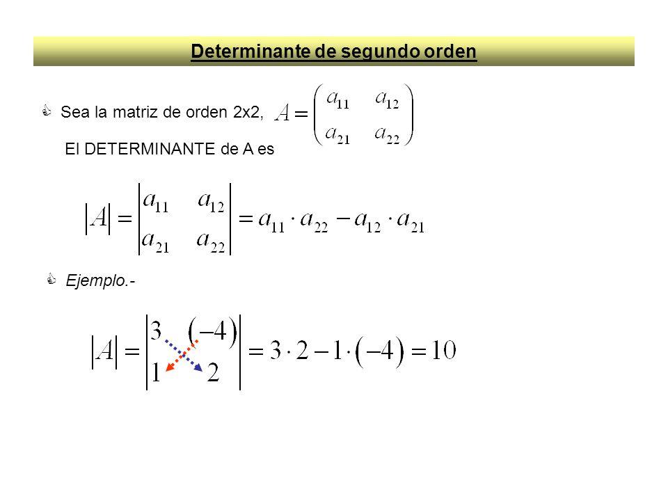 Propiedades de los Determinante de segundo orden 1.- El determinante de una matriz es igual al de su transpuesta, es decir 2.- Si se cambian de orden las filas o columnas el determinante cambia de signo, es decir 3.- Si dos filas o columnas son iguales el determinante se anula, es decir También será cero cuando una fila o columna sea múltiplo de la otra