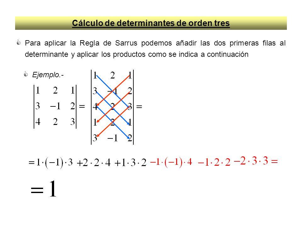 Cálculo de determinantes de orden tres Para aplicar la Regla de Sarrus podemos añadir las dos primeras filas al determinante y aplicar los productos c