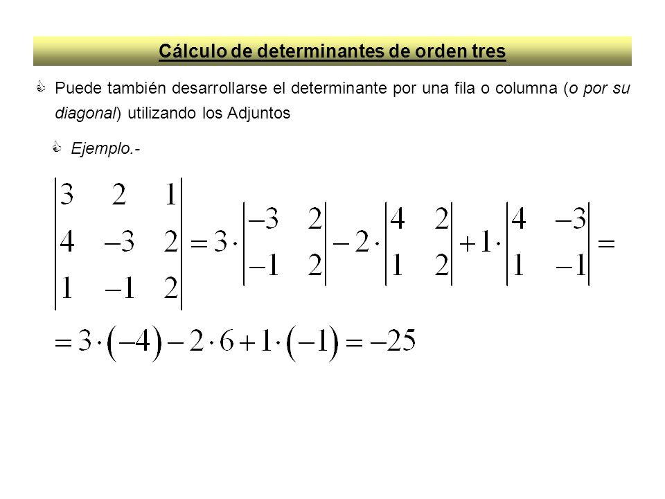 Cálculo de determinantes de orden tres Puede también desarrollarse el determinante por una fila o columna (o por su diagonal) utilizando los Adjuntos Ejemplo.-