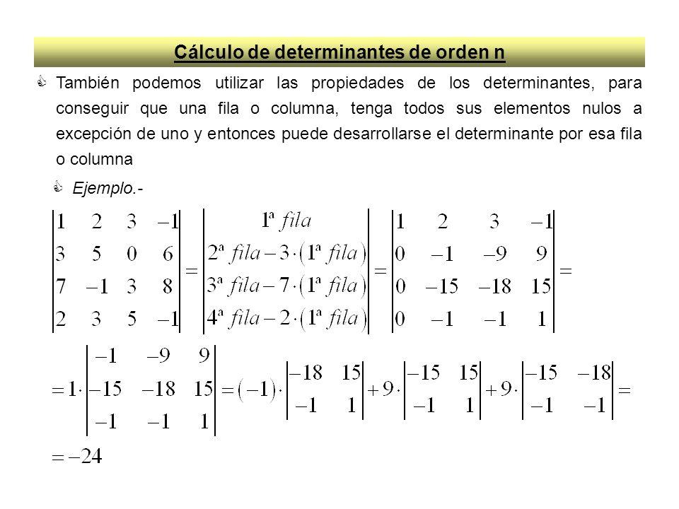 Cálculo de determinantes de orden n También podemos utilizar las propiedades de los determinantes, para conseguir que una fila o columna, tenga todos