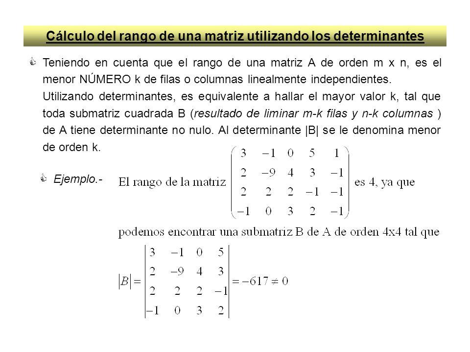 Cálculo del rango de una matriz utilizando los determinantes Teniendo en cuenta que el rango de una matriz A de orden m x n, es el menor NÚMERO k de f
