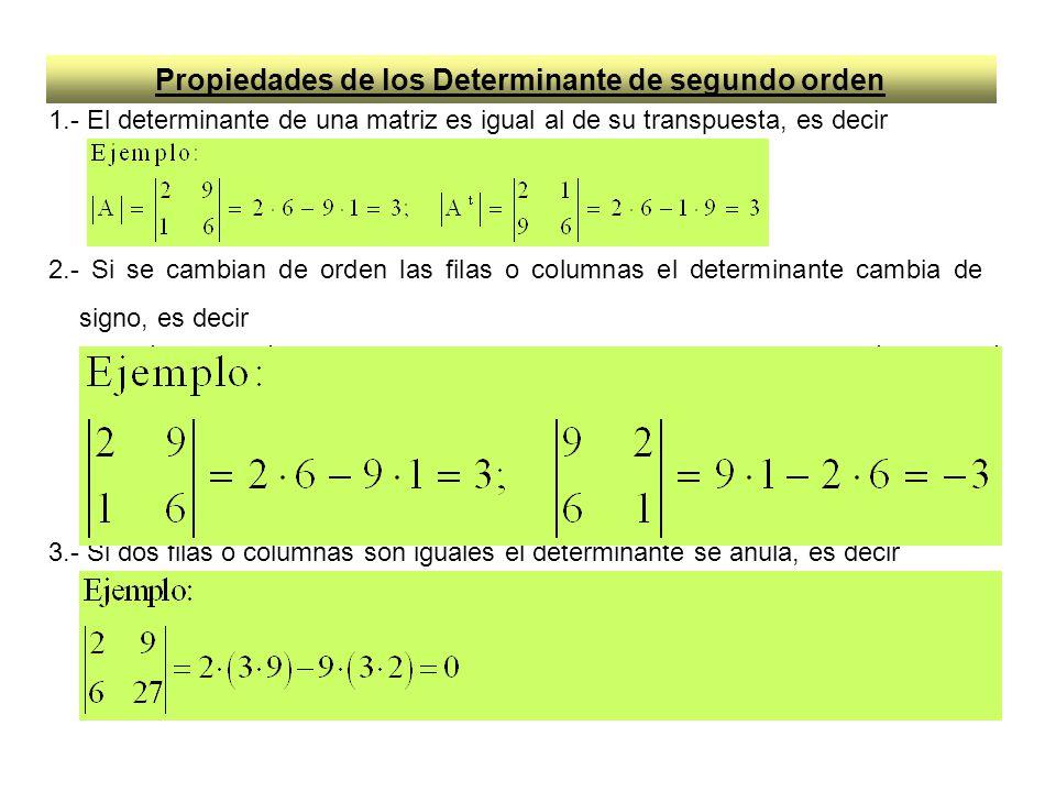 Propiedades de los Determinante de segundo orden 1.- El determinante de una matriz es igual al de su transpuesta, es decir 2.- Si se cambian de orden