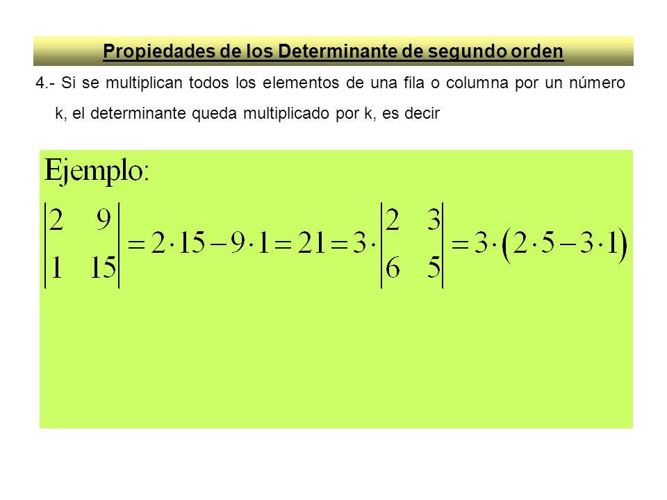 Propiedades de los Determinante de segundo orden 4.- Si se multiplican todos los elementos de una fila o columna por un número k, el determinante qued