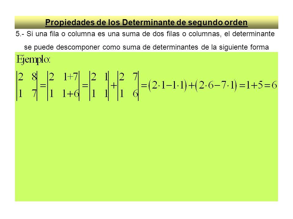 Propiedades de los Determinante de segundo orden 6.- De las propiedades 5 y 6 se deduce que si una fila o columna se le suma la otra fila o columna multiplicada por un valor k, el valor del determinante no varía, es decir