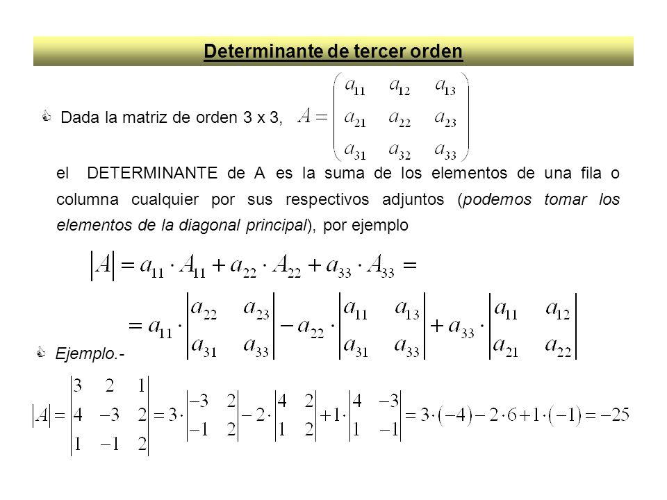 Regla de Sarrus del Determinante de tercer orden Desarrollando los determinantes de orden dos de A, que aparecen en la definición de Determinante de A, obtenemos la regla de SARRUS Que puede recordarse fácilmente, si se tiene en cuenta que conservan el signo los productos correspondientes a la diagonal principal y a las líneas paralelas a ella por el vértice opuesto, y cambian de signo los productos correspondientes a la diagonal secundaria y a las líneas paralelas a esta por el vértice opuesto