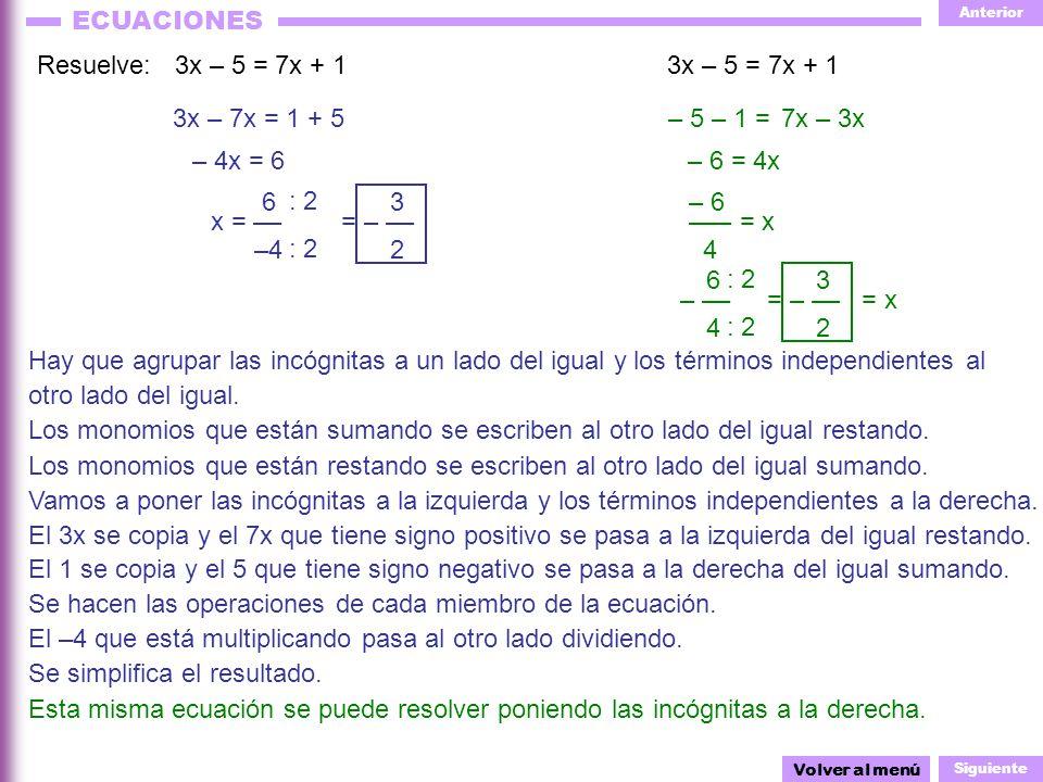 Anterior Siguiente ECUACIONES = +2 – 6x + 5x = 1 Resuelve:1 + 3(1 – x) = 6 + (6x + 5) – 5(x + 3) Volver al menú El 1 y el 3 no se pueden sumar, antes hay que quitar los paréntesis.
