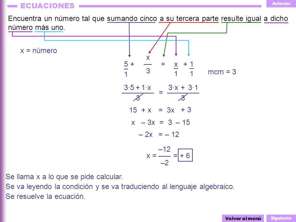 Anterior Siguiente ECUACIONES 1·x 3 3 –––––––– = –––––––– x3x3 –– =5 + x = número Encuentra un número tal que sumando cinco a su tercera parte resulte