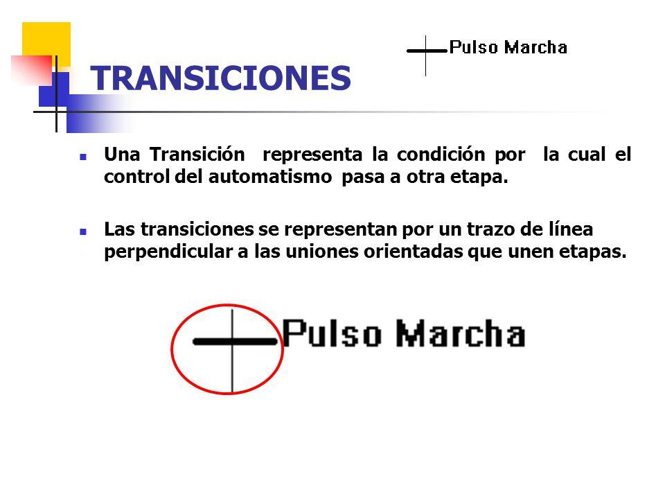 Una Transición representa la condición por la cual el control del automatismo pasa a otra etapa. Las transiciones se representan por un trazo de línea