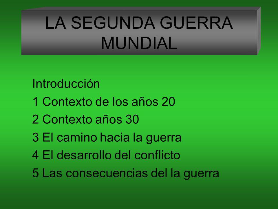 LA SEGUNDA GUERRA MUNDIAL Introducción 1 Contexto de los años 20 2 Contexto años 30 3 El camino hacia la guerra 4 El desarrollo del conflicto 5 Las consecuencias del la guerra