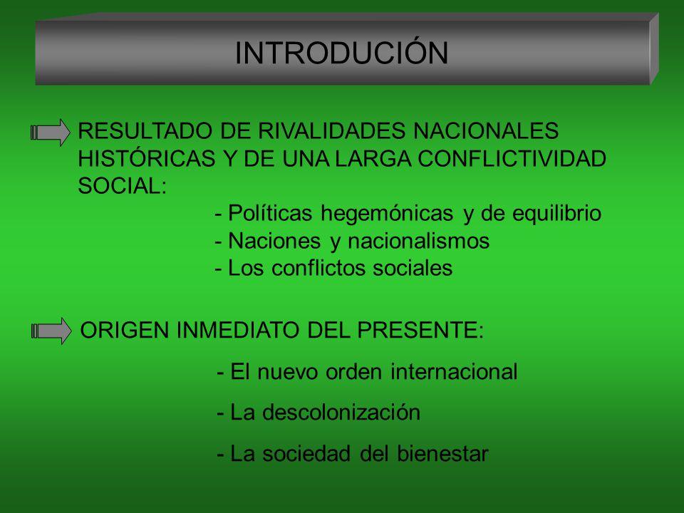 INTRODUCIÓN RESULTADO DE RIVALIDADES NACIONALES HISTÓRICAS Y DE UNA LARGA CONFLICTIVIDAD SOCIAL: - Políticas hegemónicas y de equilibrio - Naciones y nacionalismos - Los conflictos sociales ORIGEN INMEDIATO DEL PRESENTE: - El nuevo orden internacional - La descolonización - La sociedad del bienestar