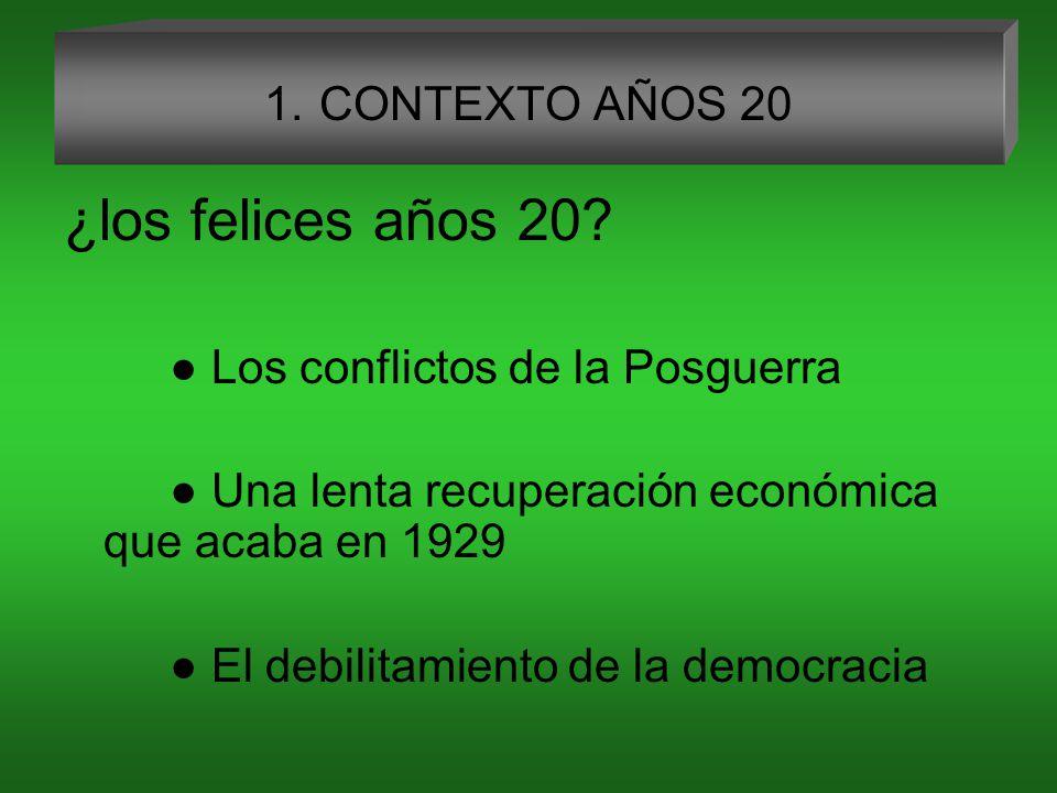 1.CONTEXTO AÑOS 20 ¿los felices años 20.