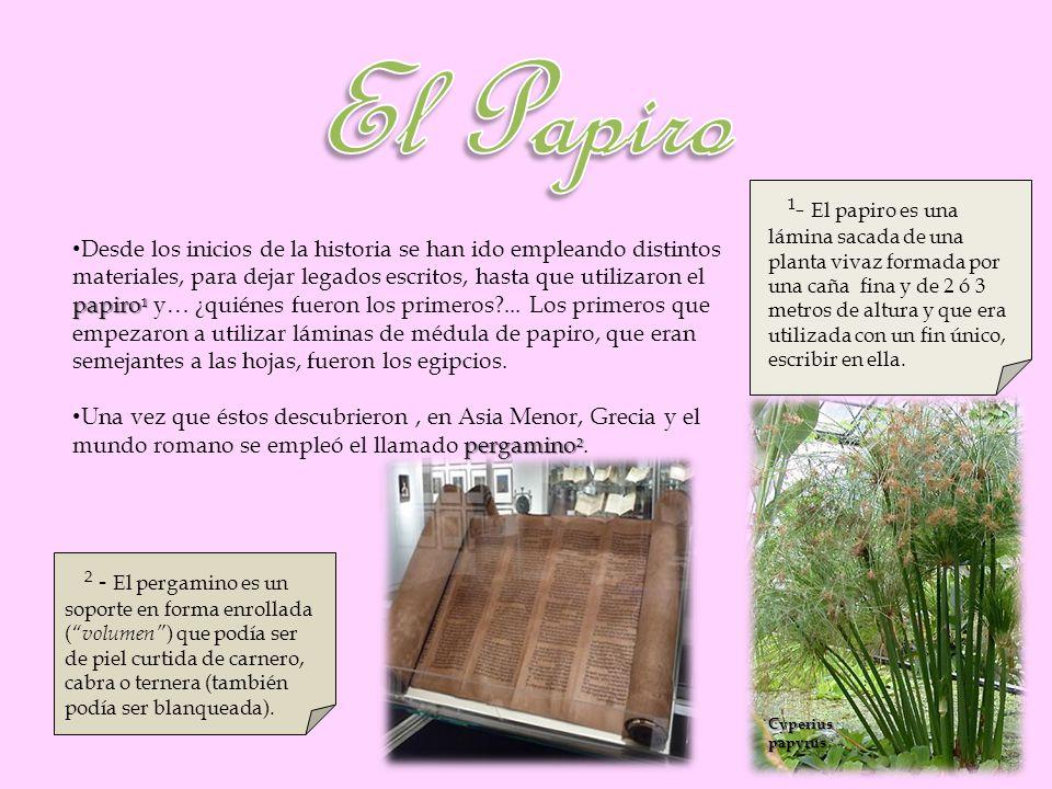 papiro ¹ Desde los inicios de la historia se han ido empleando distintos materiales, para dejar legados escritos, hasta que utilizaron el papiro ¹ y…