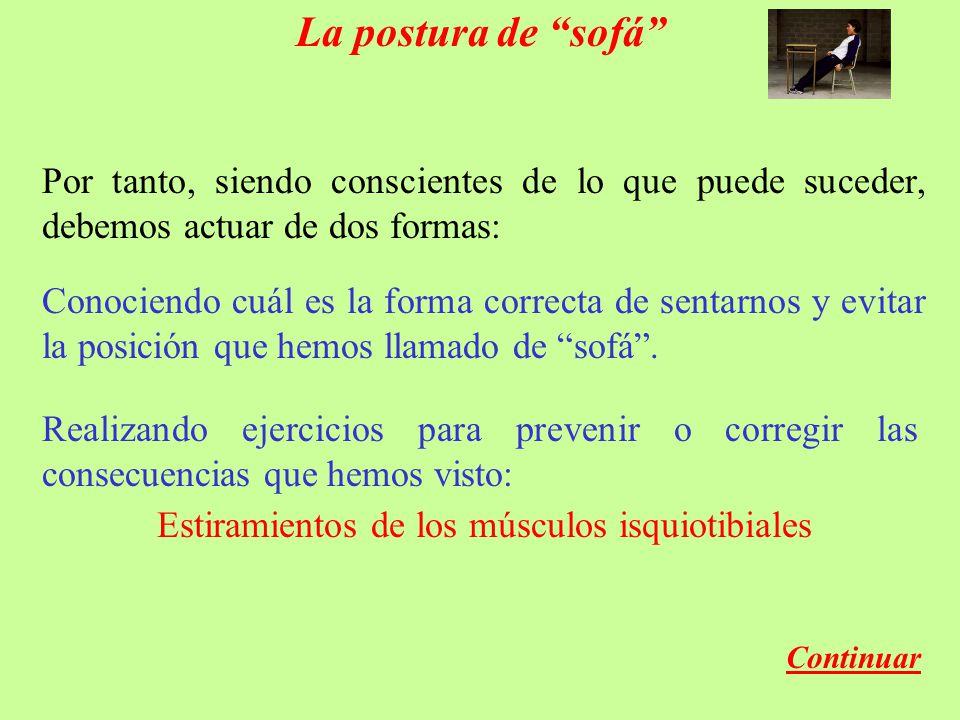 La postura de sofá Por tanto, siendo conscientes de lo que puede suceder, debemos actuar de dos formas: Conociendo cuál es la forma correcta de sentarnos y evitar la posición que hemos llamado de sofá.