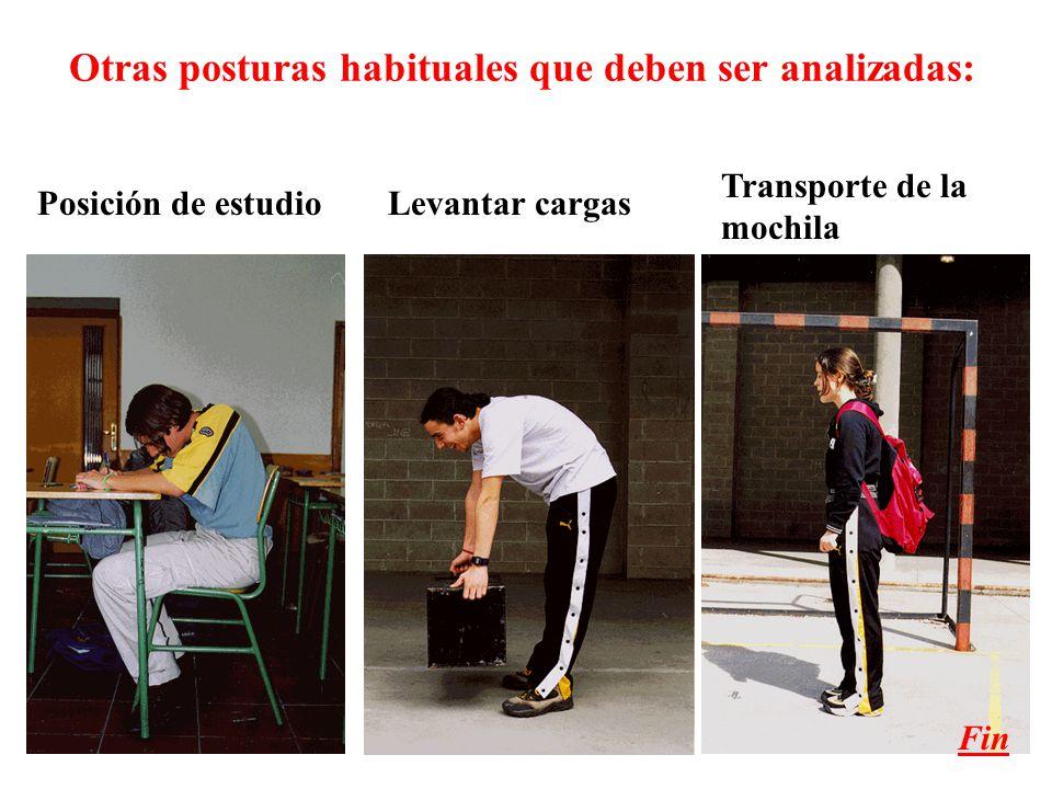 Otras posturas habituales que deben ser analizadas: Posición de estudioLevantar cargas Transporte de la mochila Fin