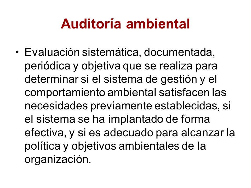 Auditoria Ambiental Interna Auditoría Ambiental Evaluación