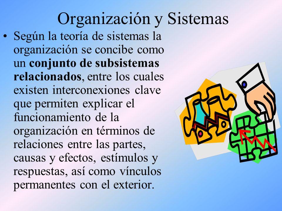 La Organización La organización es un sistema formal porque es un ente creado para un objeto, es diseñada artificialmente para que cumpla la meta