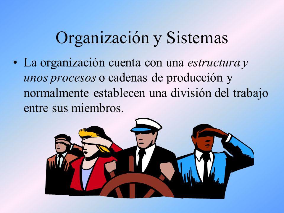Organización y Sistemas Las personas que integran una organización interactúan, se relacionan unas con otras, colaboran y se coordinan para lograr una finalidad o propósito común: generar valor económico, producir bienes, prestar servicios a clientes, etc.