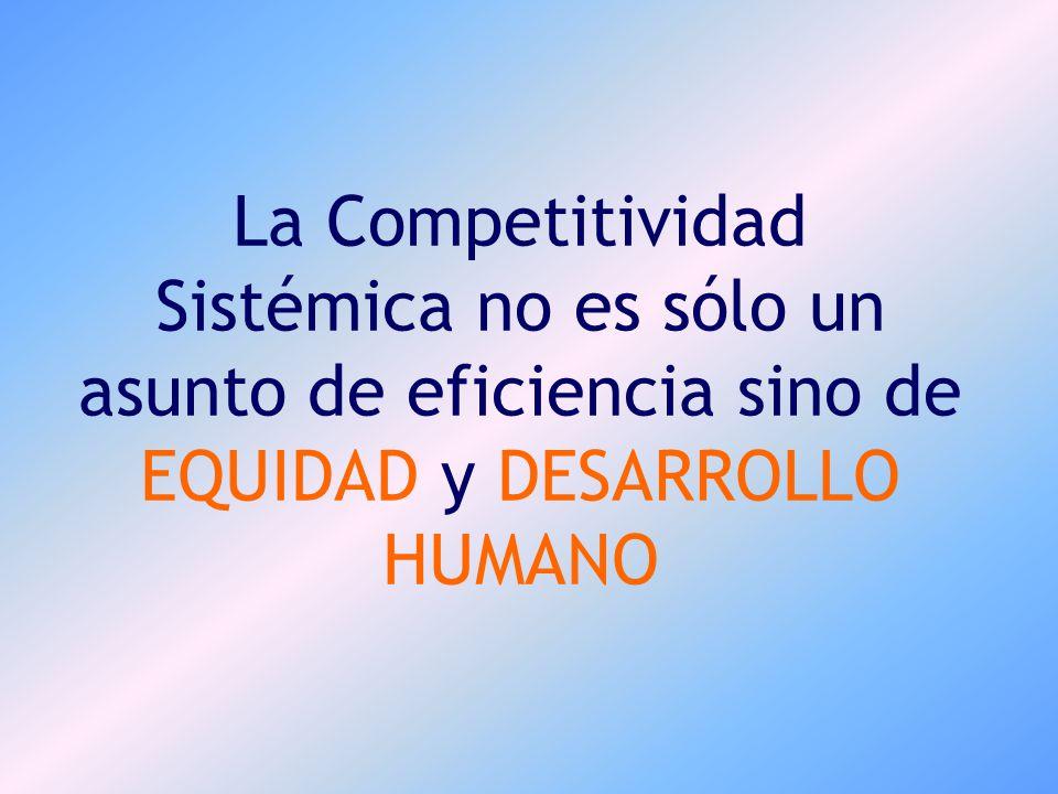 Competitividad Sistémica Competitividad Sistémica : Es el proceso de formación o acumulación del Capital Sistémico, que promueve un crecimiento sostenido del ingreso per cápita de la población en una economía abierta a la globalización.