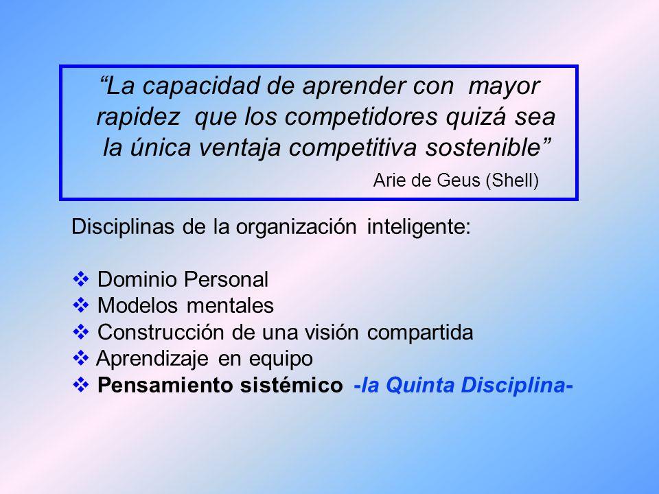 organización que aprende Una organización que aprende (learning organization) es aquella cuyos miembros continuamente adquieren nuevo conocimiento, lo comparten y lo utilizan para adaptarse a un ambiente constantemente cambiante.