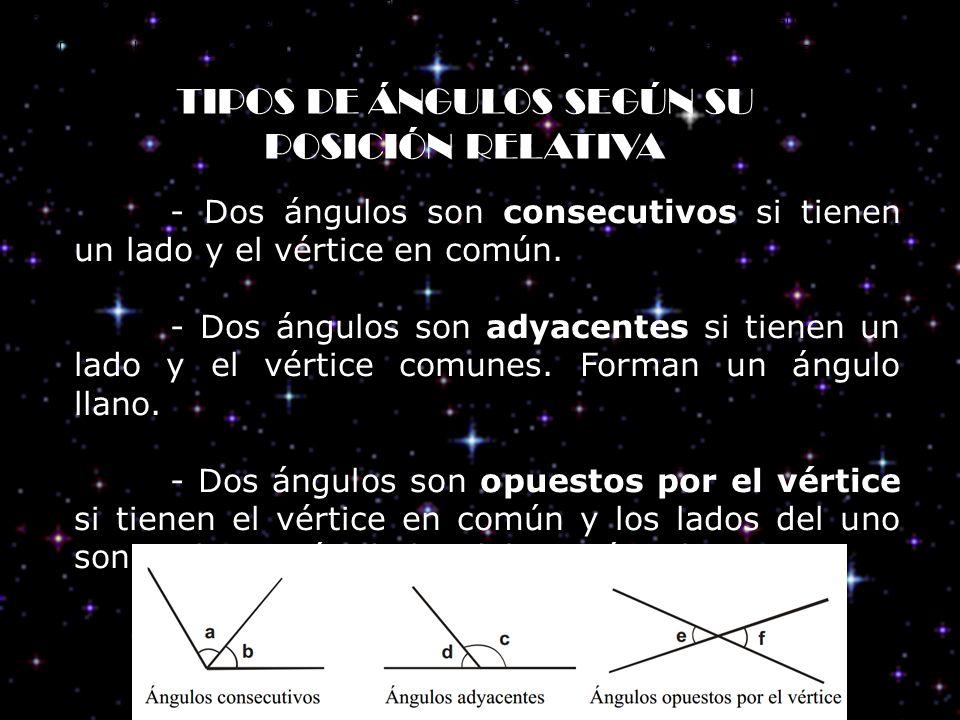 TIPOS DE ÁNGULOS SEGÚN SU POSICIÓN RELATIVA Dos ángulos son consecutivos si tienen un lado y el vértice en común. Dos ángulos son adyacentes si tienen