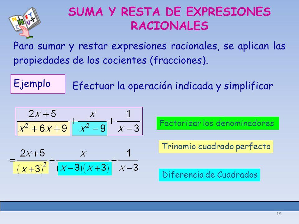 13 Trinomio cuadrado perfecto Diferencia de Cuadrados SUMA Y RESTA DE EXPRESIONES RACIONALES Para sumar y restar expresiones racionales, se aplican las propiedades de los cocientes (fracciones).
