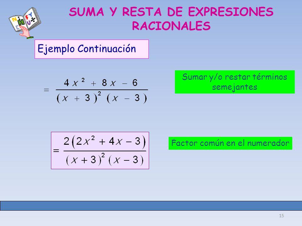 15 SUMA Y RESTA DE EXPRESIONES RACIONALES Ejemplo Continuación Sumar y/o restar términos semejantes Factor común en el numerador