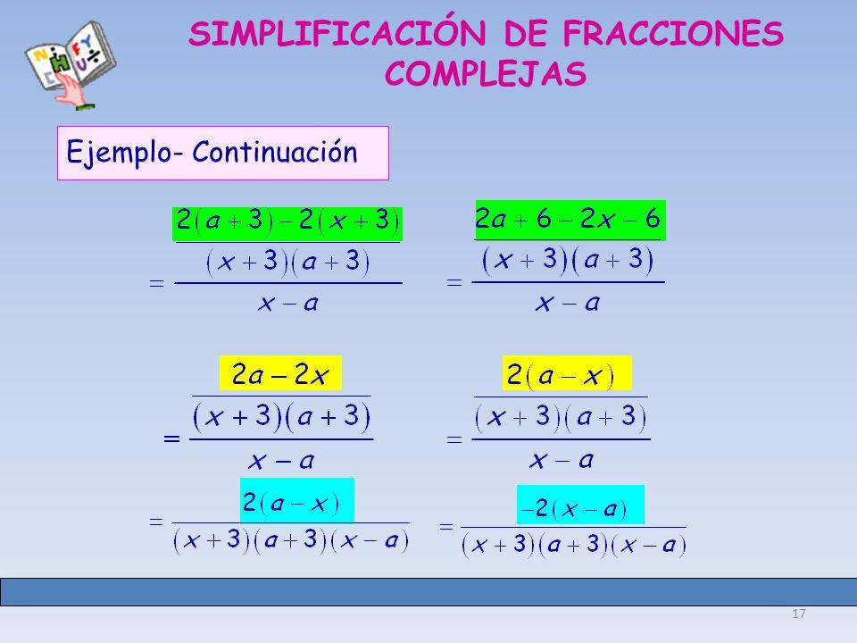 17 SIMPLIFICACIÓN DE FRACCIONES COMPLEJAS Ejemplo- Continuación