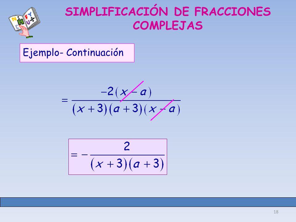 18 SIMPLIFICACIÓN DE FRACCIONES COMPLEJAS Ejemplo- Continuación