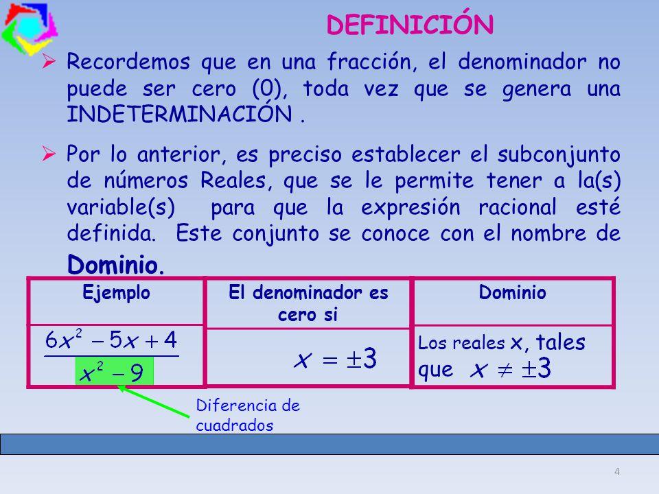 4 DEFINICIÓN Recordemos que en una fracción, el denominador no puede ser cero (0), toda vez que se genera una INDETERMINACIÓN.