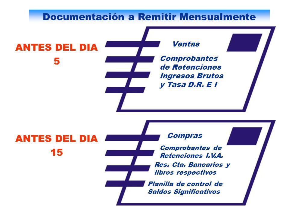 Documentación a Remitir Mensualmente Ventas Comprobantes de Retenciones Ingresos Brutos y Tasa D.R. E I Compras Comprobantes de Retenciones I.V.A. Res