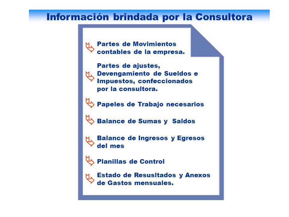 Información brindada por la Consultora Partes de Movimientos contables de la empresa. Partes de ajustes, Devengamiento de Sueldos e Impuestos, confecc