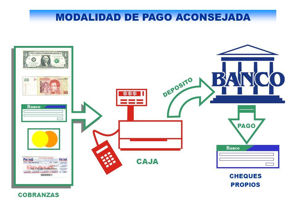 Banco CHEQUES PROPIOS DEPOSITO COBRANZAS CAJA PAGO MODALIDAD DE PAGO ACONSEJADA