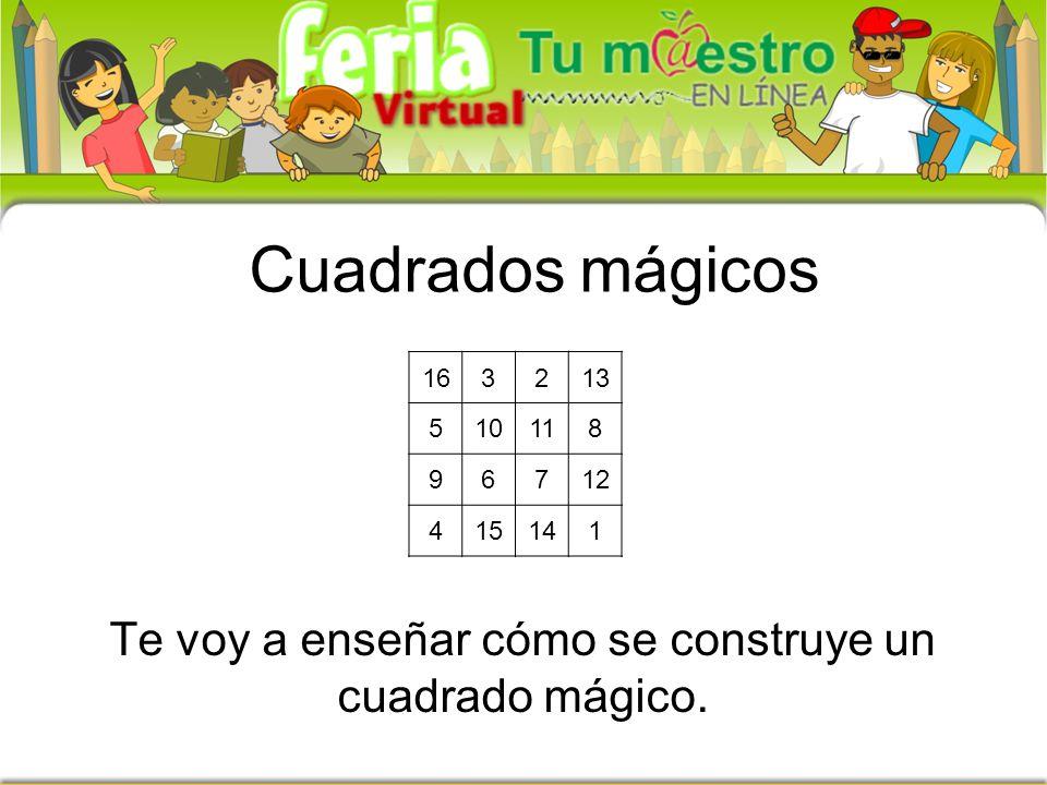 Cuadrados mágicos 163213 510118 96712 415141 Te voy a enseñar cómo se construye un cuadrado mágico.