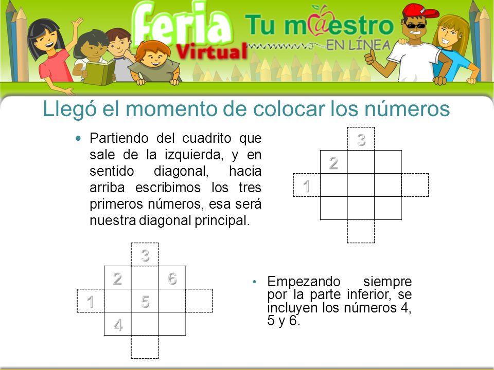 Llegó el momento de colocar los números Partiendo del cuadrito que sale de la izquierda, y en sentido diagonal, hacia arriba escribimos los tres primeros números, esa será nuestra diagonal principal.