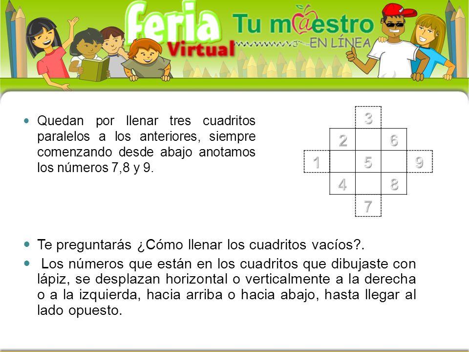 Quedan por llenar tres cuadritos paralelos a los anteriores, siempre comenzando desde abajo anotamos los números 7,8 y 9.