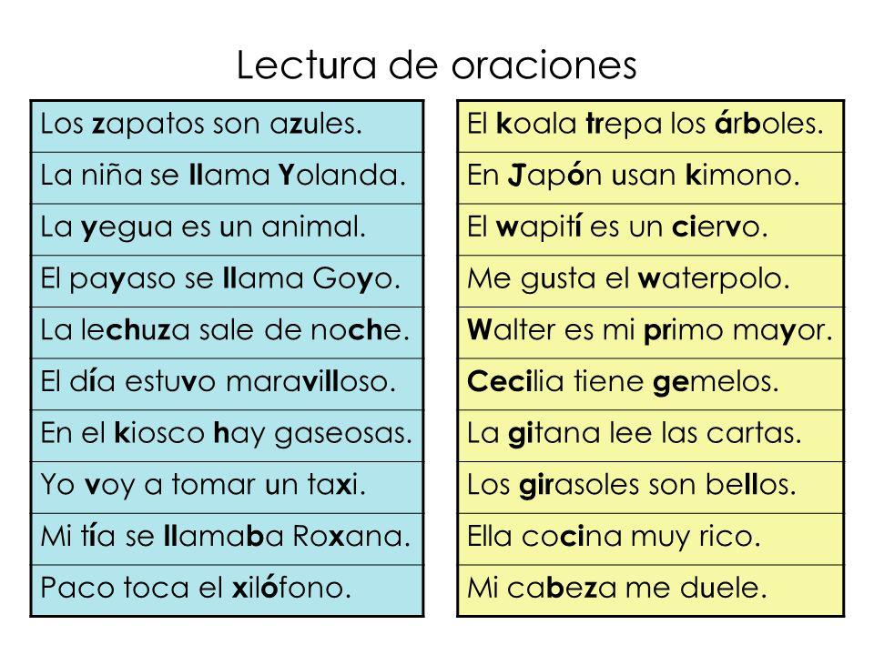 Lect u ra de oraciones Los z apatos son a z u les.
