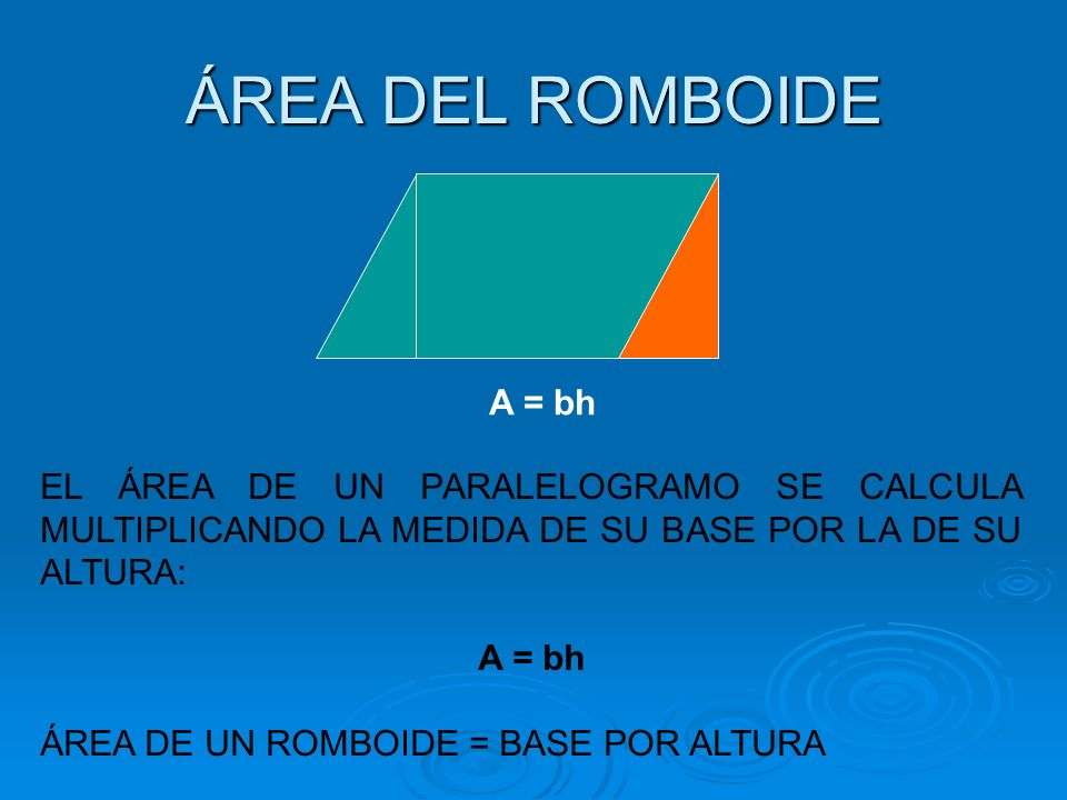 ÁREA DEL ROMBOIDE A = bh EL ÁREA DE UN PARALELOGRAMO SE CALCULA MULTIPLICANDO LA MEDIDA DE SU BASE POR LA DE SU ALTURA: A = bh ÁREA DE UN ROMBOIDE = B