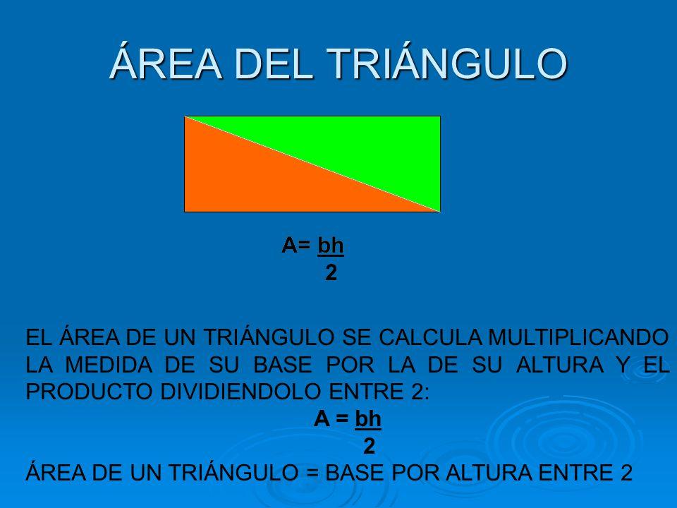 ÁREA DEL ROMBO Base = Diagonal mayor (D) Altura = Diagonal menor (d) A= Dd 2 EL ÁREA DE UN ROMBO SE CALCULA MULTIPLICANDO LA MEDIDA DE SU DIAGONAL MAYOR POR LA DE SU DIAGONAL MENOR Y EL PRODUCTO DIVIDIENDOLO ENTRE 2: A = Dd 2 ÁREA DE UN ROMBO = DIAGONAL MAYOR POR DIAGONAL MENOR ENTRE 2