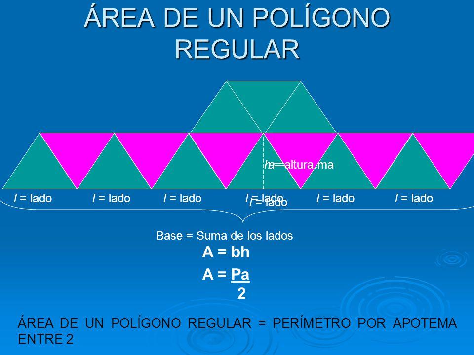 ÁREA DE UN POLÍGONO REGULAR l = lado a = apotema l = lado Base = Suma de los lados h = altura A = bh A = Pa 2 ÁREA DE UN POLÍGONO REGULAR = PERÍMETRO