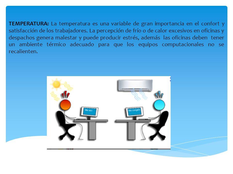 TEMPERATURA: La temperatura es una variable de gran importancia en el confort y satisfacción de los trabajadores.