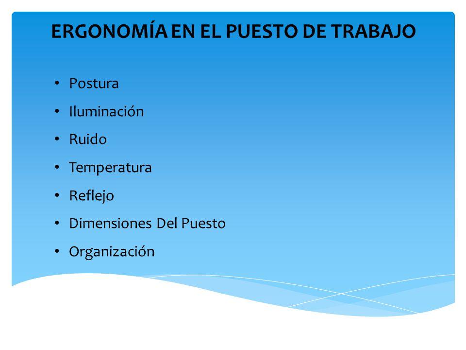 ERGONOMÍA EN EL PUESTO DE TRABAJO Postura Iluminación Ruido Temperatura Reflejo Dimensiones Del Puesto Organización