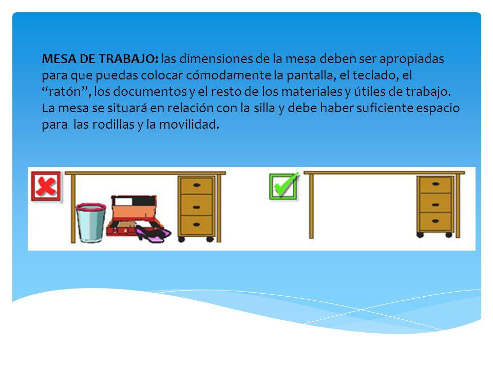 MESA DE TRABAJO: las dimensiones de la mesa deben ser apropiadas para que puedas colocar cómodamente la pantalla, el teclado, el ratón, los documentos y el resto de los materiales y útiles de trabajo.
