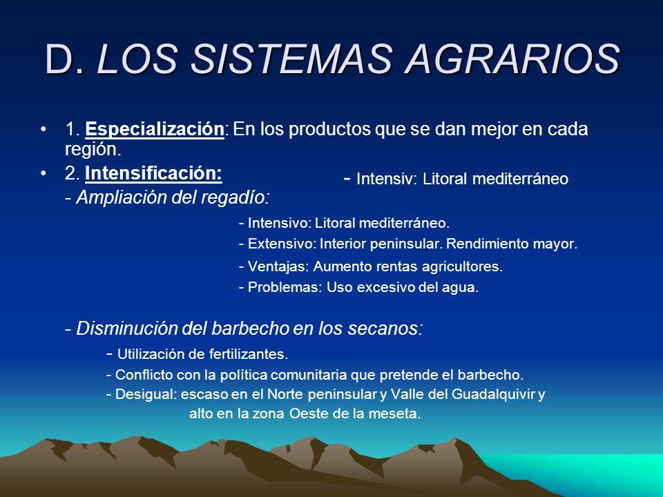 D.LOS SISTEMAS AGRARIOS 1. Especialización: En los productos que se dan mejor en cada región.